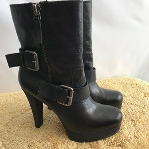Nine West Black Leather High Heel Boots